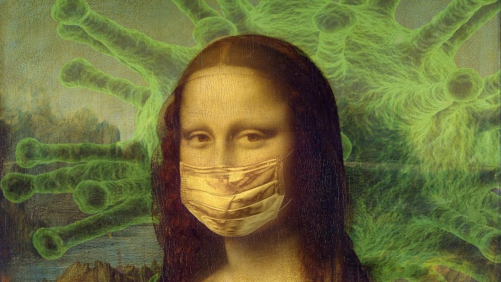 The Mona Lisa wearing a face mask against a virus-filled background